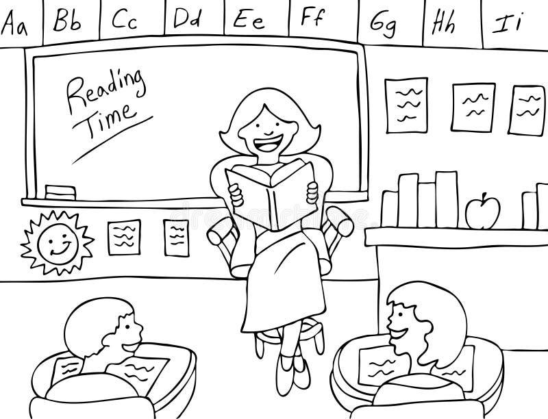 Tempo da leitura - preto e branco ilustração stock