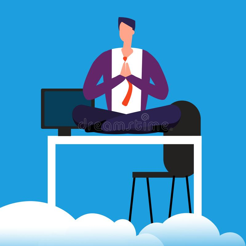 Tempo da meditação no trabalho O homem está meditando sobre a ilustração do vetor da mesa ilustração royalty free