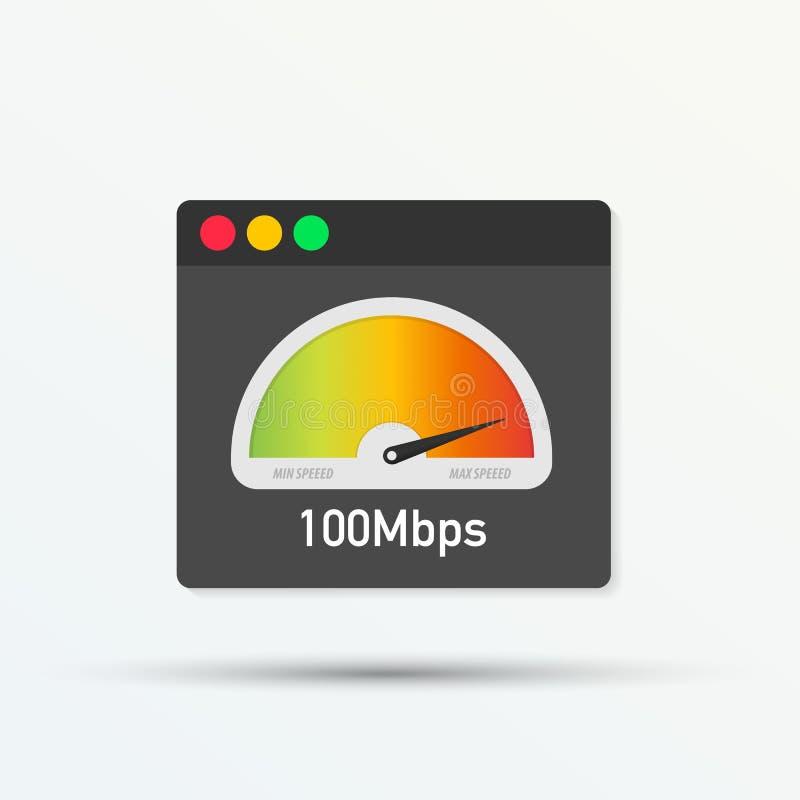 Tempo de carga da velocidade do Web site Web browser com o teste do velocímetro que mostra o bom tempo rápido da velocidade da ca ilustração stock