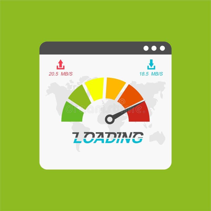Tempo de carga da velocidade do Web site Web browser com o teste do veloc?metro que mostra o bom tempo r?pido da velocidade da ca ilustração royalty free