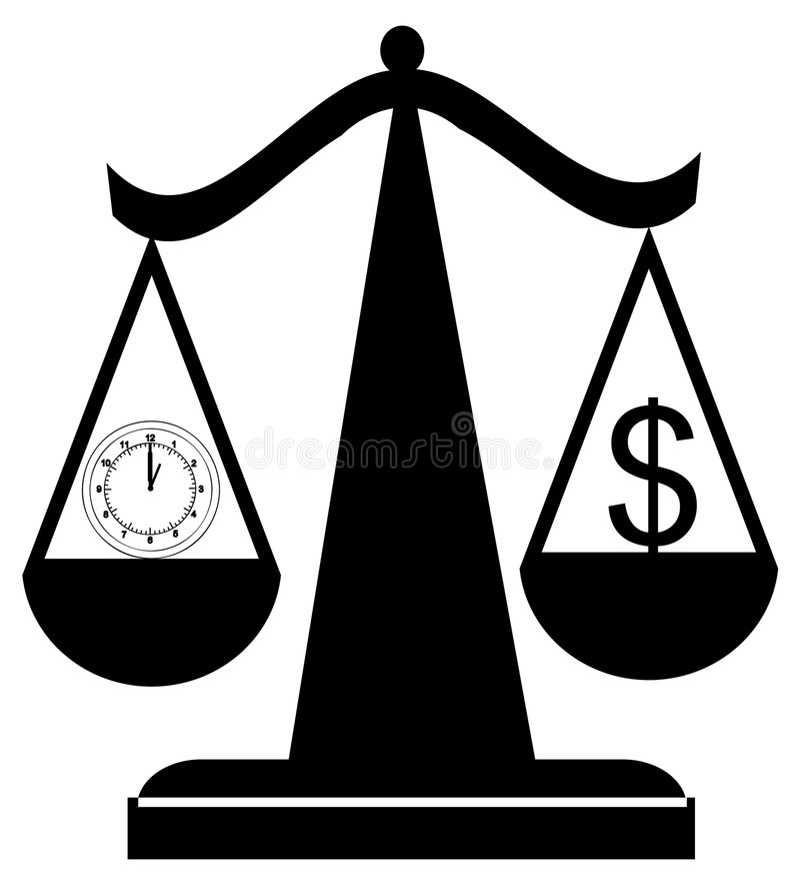 Tempo de equilíbrio e dinheiro ilustração royalty free