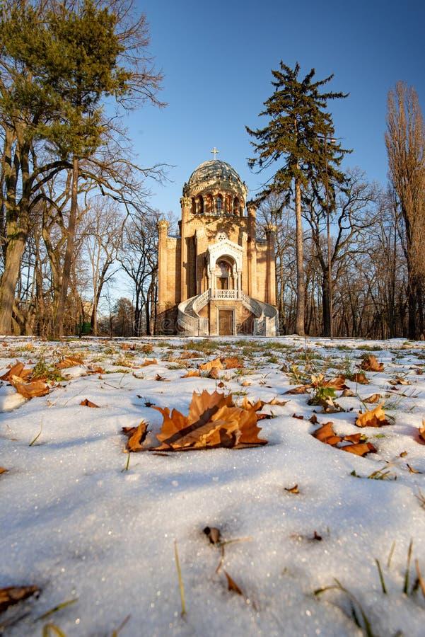 Tempo de inverno no parque de Stirbei, cidade de Buftea, Romênia fotografia de stock