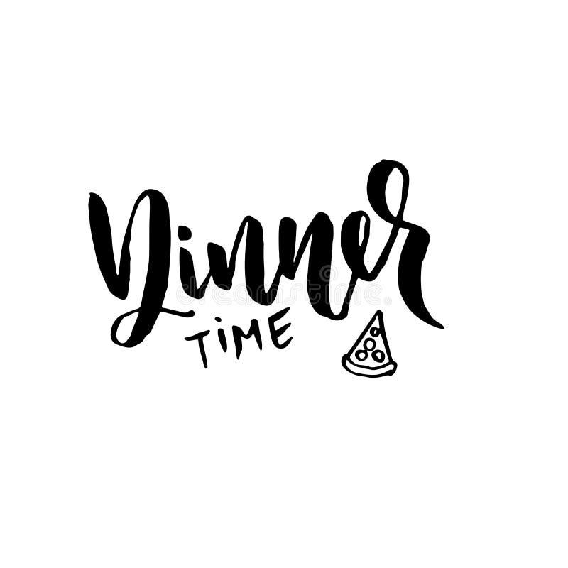 Tempo de jantar Moderno seque a rotulação da escova Esboço da pizza Ilustração handdrawn do vetor ilustração do vetor