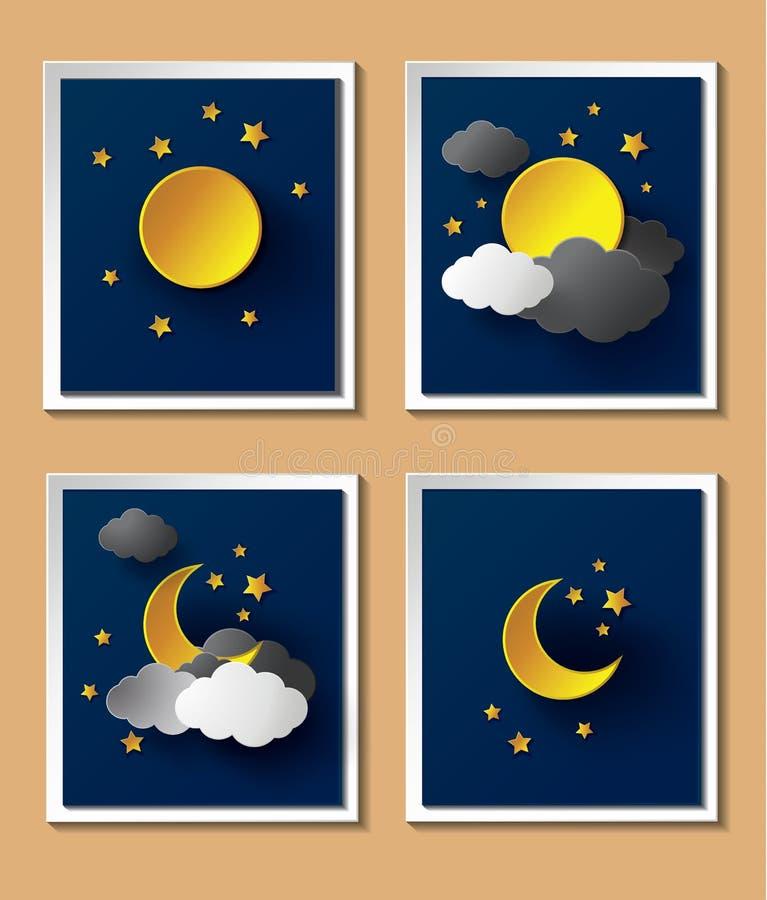 Tempo de papel abstrato com a lua no anoitecer ilustração royalty free