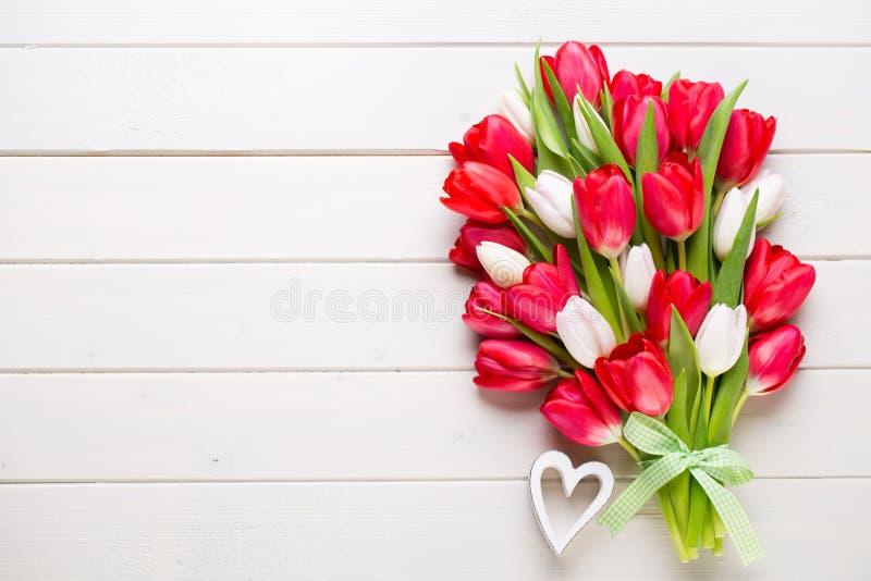 Tempo de Springt Ramalhete vermelho da tulipa no fundo de madeira branco fotos de stock
