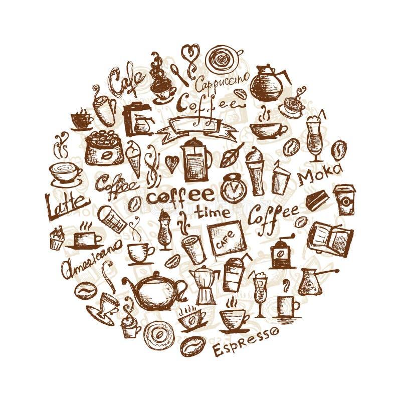 Tempo del caffè, elementi di disegno illustrazione vettoriale
