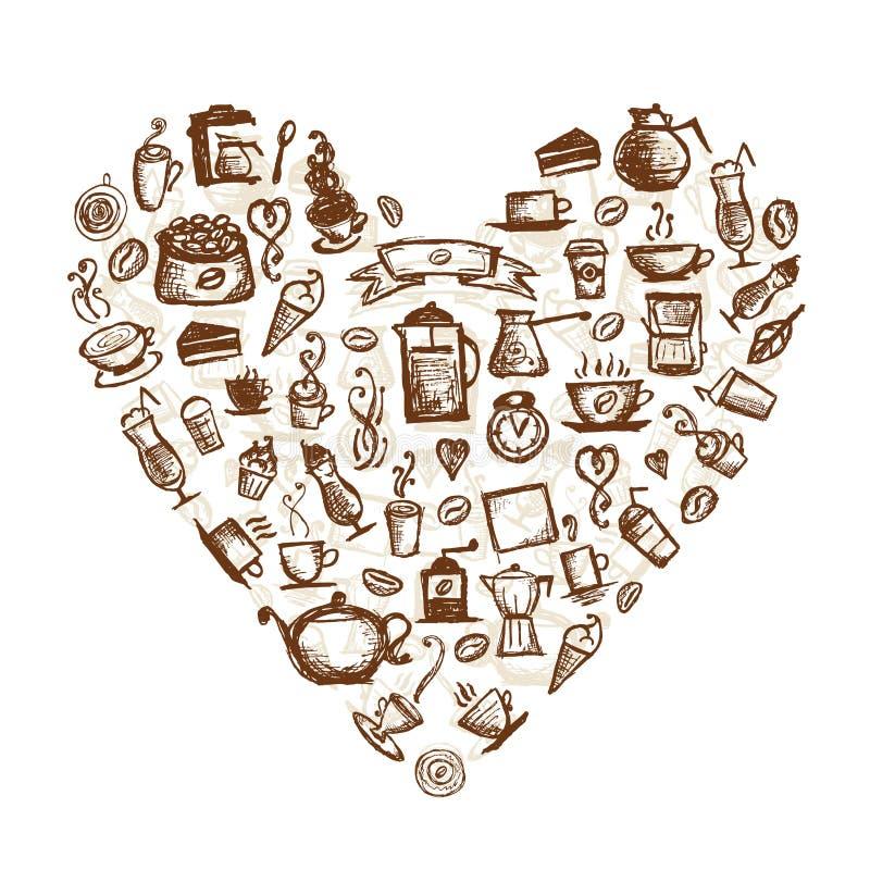Tempo del caffè, figura del cuore illustrazione di stock
