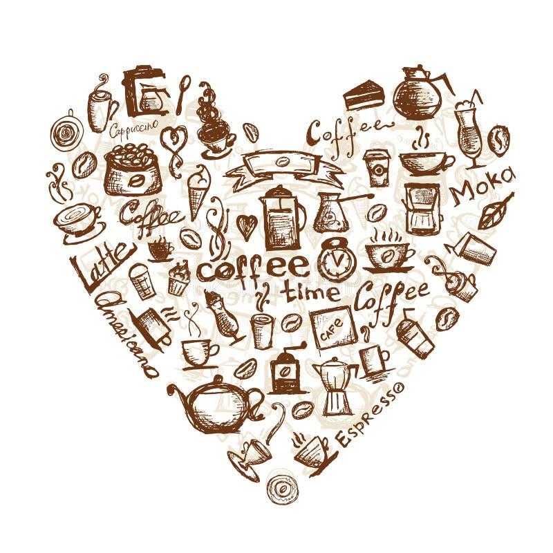 Tempo del caffè, figura del cuore per il vostro disegno royalty illustrazione gratis