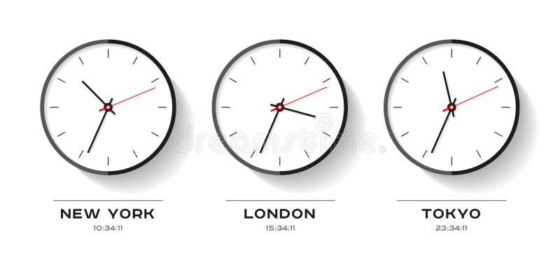 Tempo del mondo Icone semplici dell'orologio nello stile piano New York, Londra, Tokyo Vigilanza su priorità bassa bianca Illustr illustrazione vettoriale
