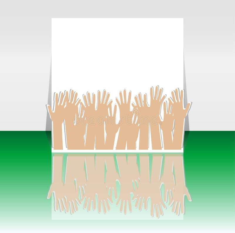 Tempo del partito - disegno del coperchio o dell'aletta di filatoio con molte mani illustrazione vettoriale
