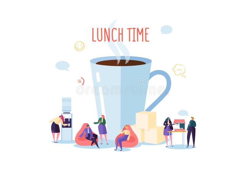 Tempo del pranzo dell'ufficio Gente di affari dei caratteri sulla pausa caffè Impiegati che parlano, riposanti e beventi le bevan illustrazione di stock