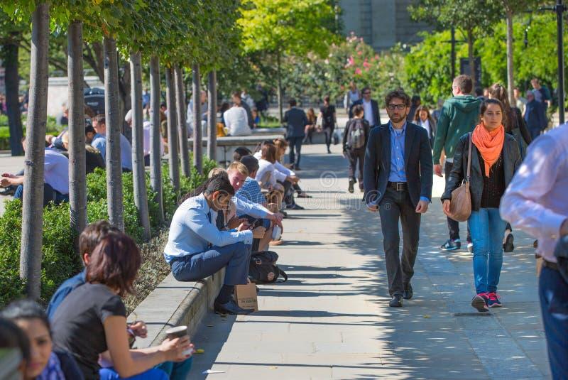 Tempo del pranzo nella città di Londra Impiegati di concetto che hanno un pranzo in parco accanto alla cattedrale di St Paul immagini stock