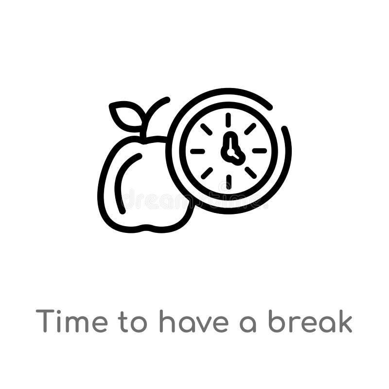 tempo del profilo di avere un'icona di vettore della rottura linea semplice nera isolata illustrazione dell'elemento dal concetto royalty illustrazione gratis