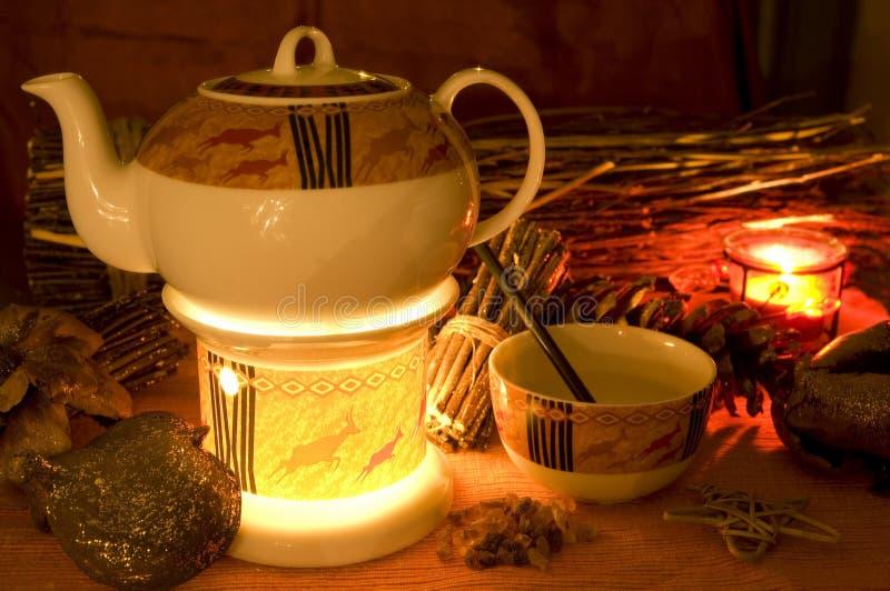 Tempo del tè in inverno fotografia stock