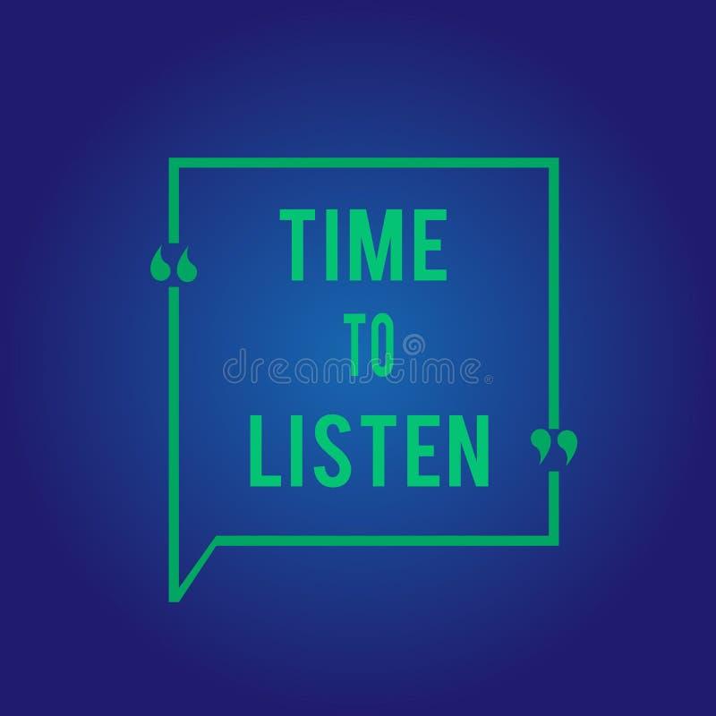 Tempo del testo di scrittura di parola di ascoltare Concetto di affari per attenzione di elasticità a qualcuno o a qualcosa per s illustrazione vettoriale