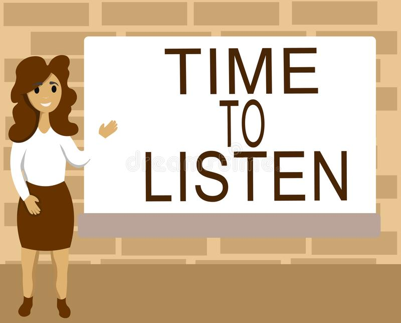 Tempo del testo di scrittura di parola di ascoltare Concetto di affari per attenzione di elasticità a qualcuno o a qualcosa per s royalty illustrazione gratis