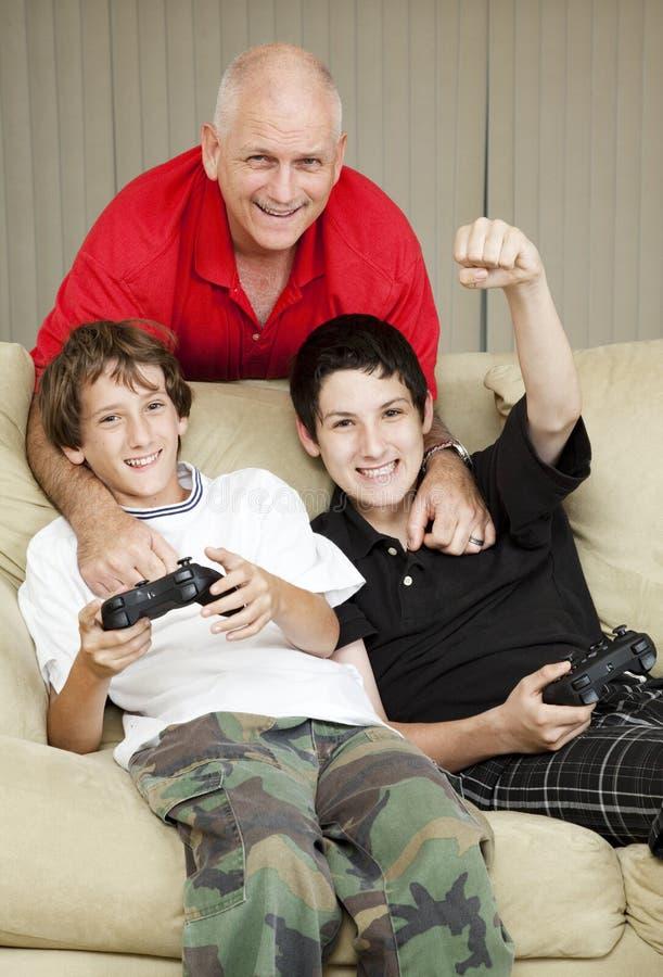 Tempo della famiglia con il papà fotografia stock
