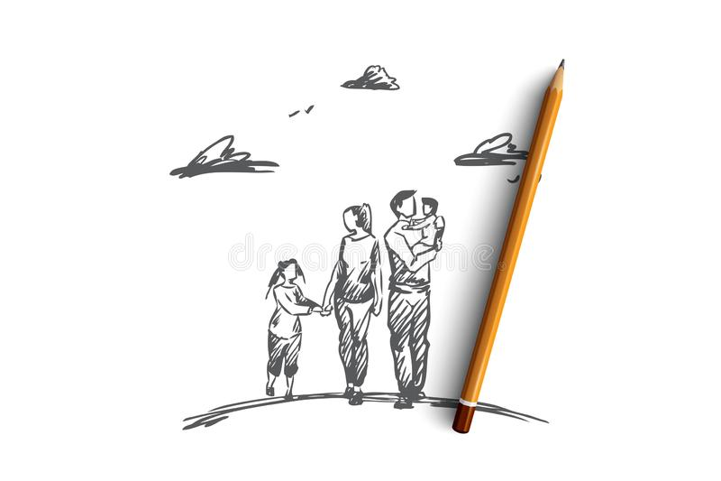 Tempo della famiglia, genitori, bambini, concetto di svago Vettore isolato disegnato a mano illustrazione vettoriale
