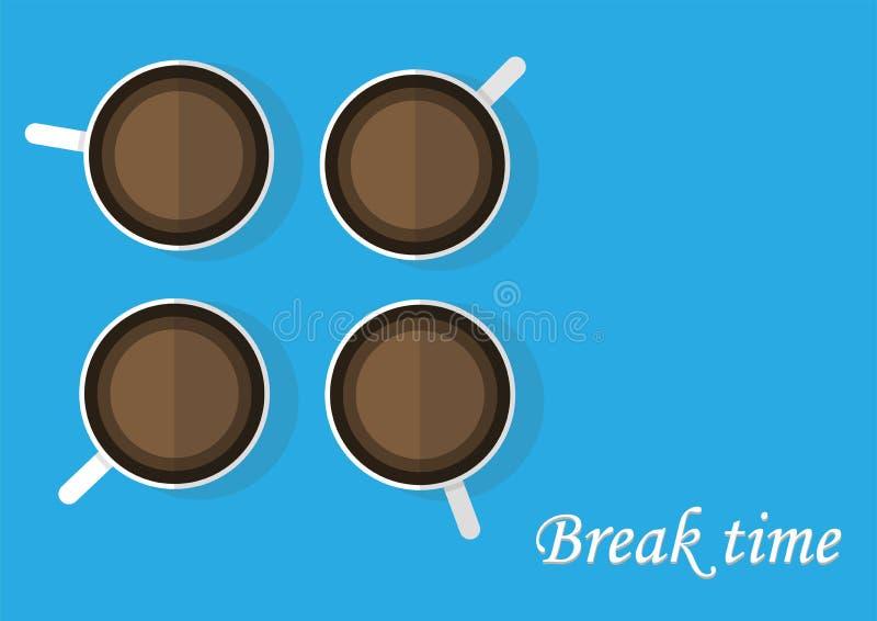 Tempo della rottura con il vettore del caffè royalty illustrazione gratis
