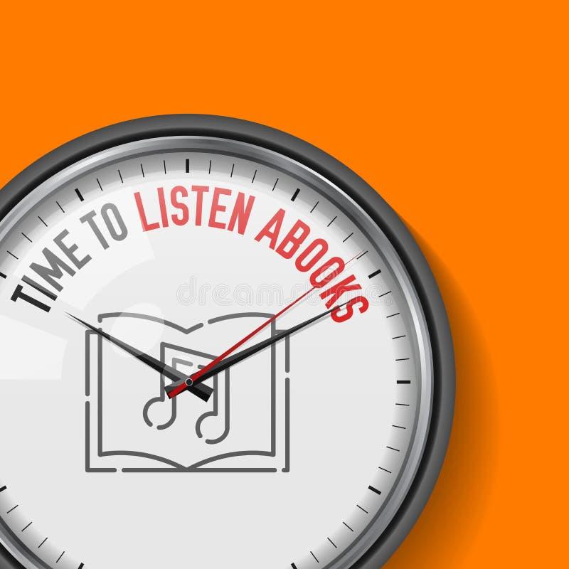 Tempo di ascoltare Abooks Orologio bianco di vettore con lo slogan motivazionale Orologio analogico del metallo con vetro Audio i illustrazione vettoriale