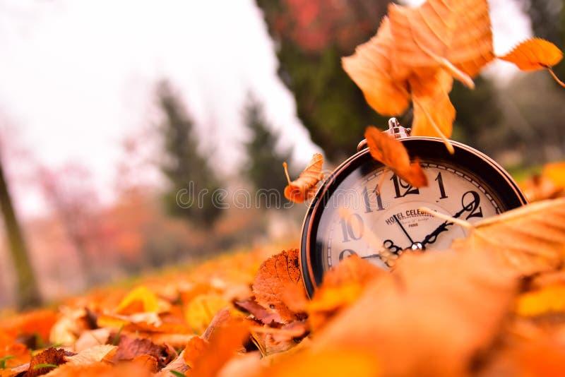 Tempo di autunno, passaggi di tempo fotografia stock