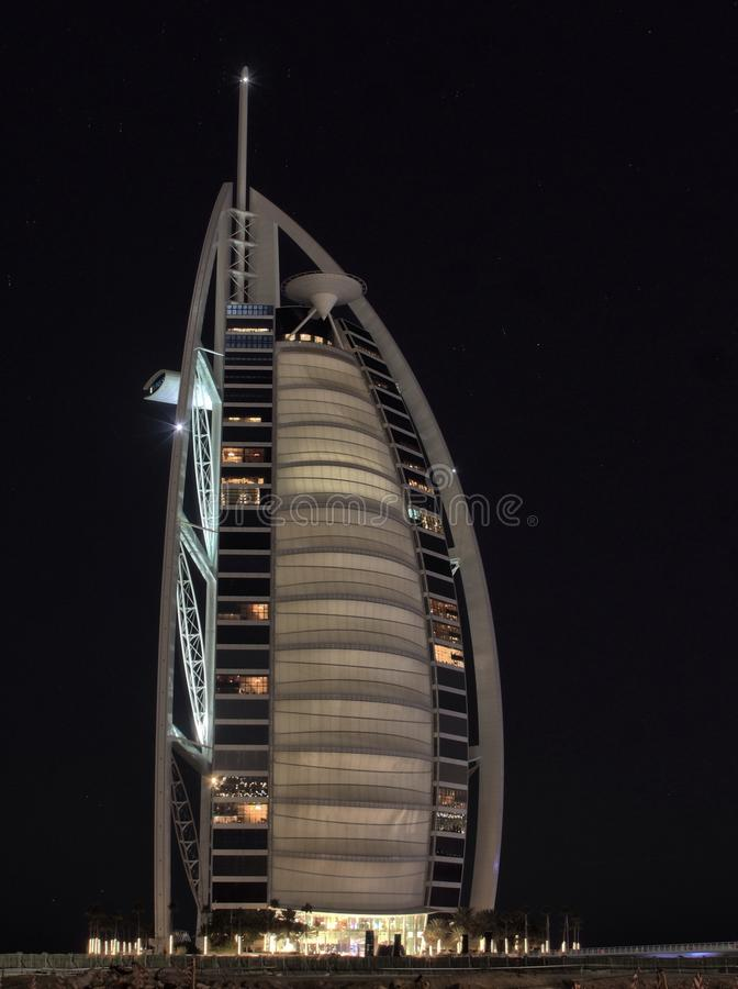 Tempo di Burj Al Arab Night fotografie stock