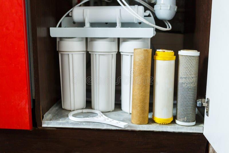 ? tempo di cambiare i filtri da acqua a casa Sostituisca i filtri nel sistema di purificazione dell'acqua Una vista alta vicina d immagine stock libera da diritti