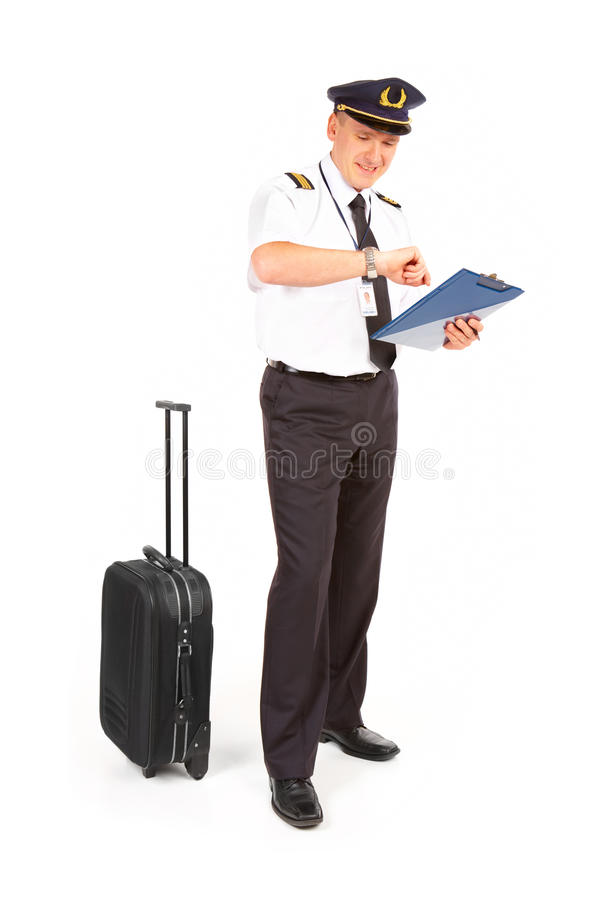 Tempo di controllo pilota di linea aerea fotografia stock