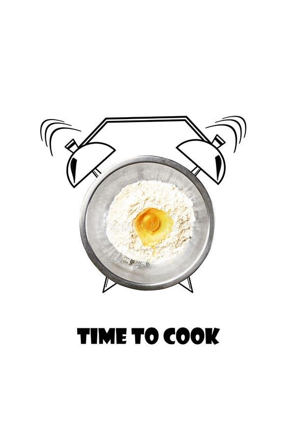 Tempo di cucinare Ora di colazione Farina ed uovo in una ciotola bianca ed in una sveglia dipinta Concetto Illustrazione fotografia stock libera da diritti