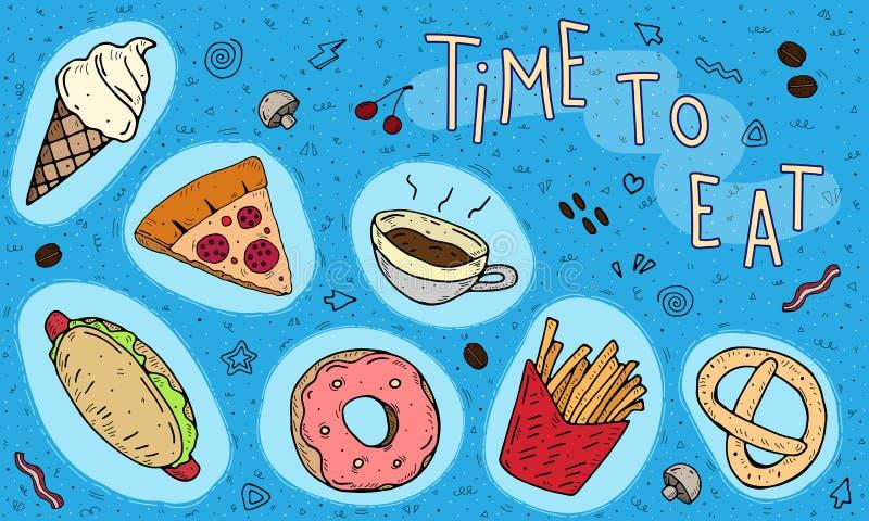 Tempo di mangiare Illustrazione di vettore del fumetto di un insieme di alimenti a rapida preparazione con un'iscrizione su un fo illustrazione vettoriale