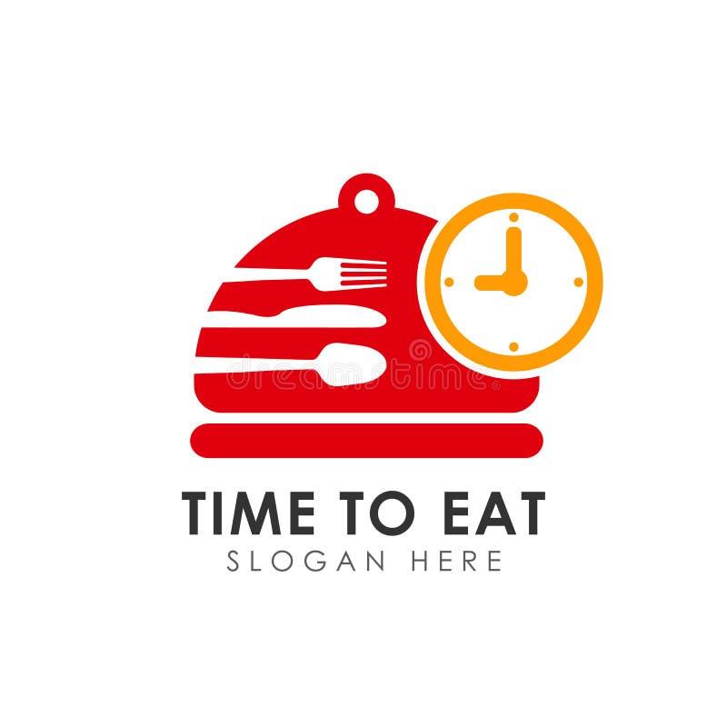 tempo di mangiare progettazione dell'icona di vettore mangi il modello di progettazione di logo di tempo illustrazione vettoriale