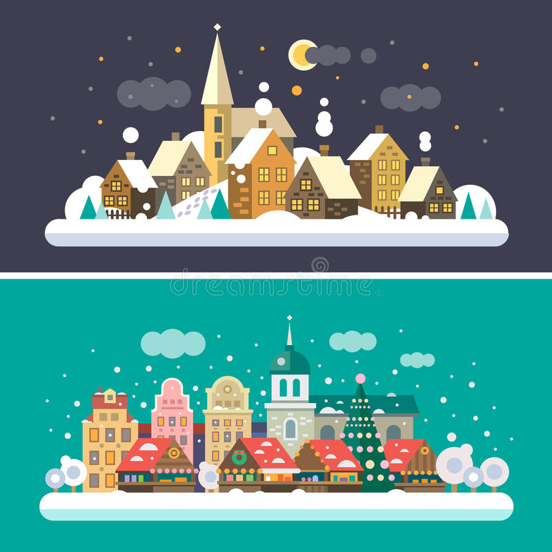 Tempo di natale Paesaggi del villaggio e di urbani illustrazione di stock