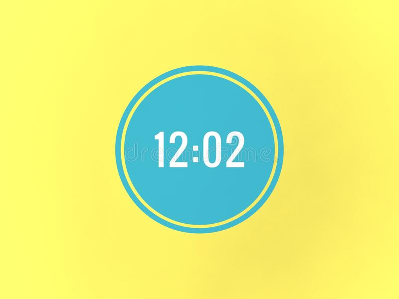 tempo di 12:02 nel cerchio blu fotografie stock
