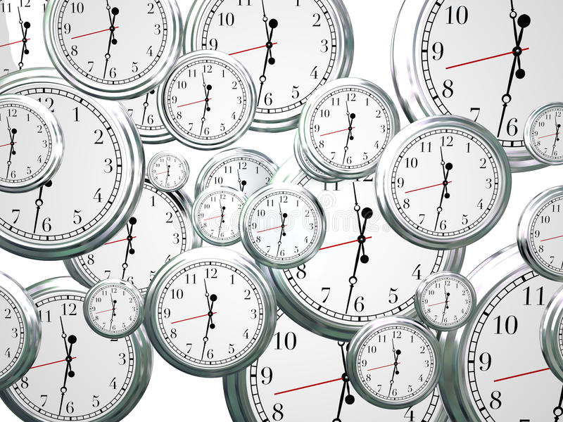 Tempo di orologi che passa marcia sul progresso futuro che si muove in avanti royalty illustrazione gratis