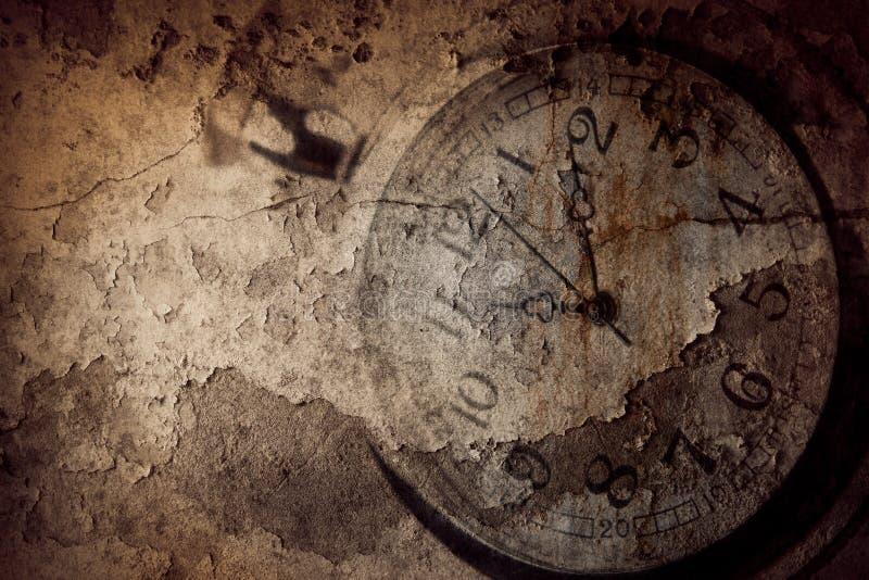 Tempo di orologio di lerciume fotografie stock