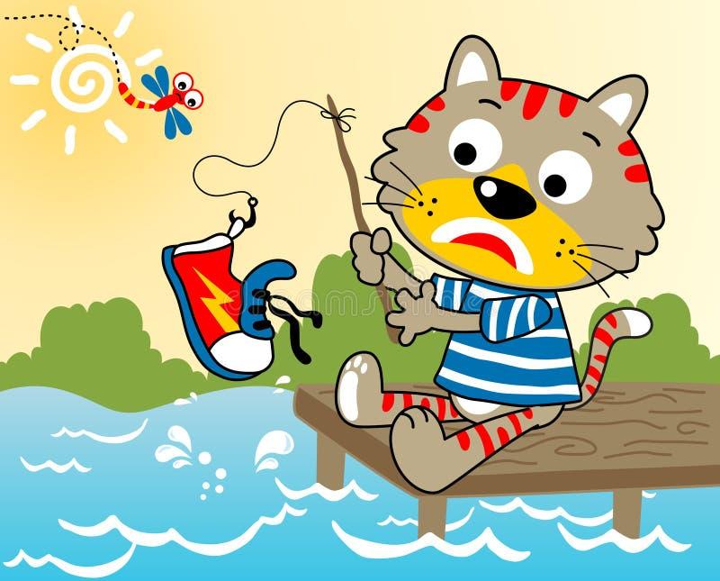 Tempo di pesca del gatto royalty illustrazione gratis