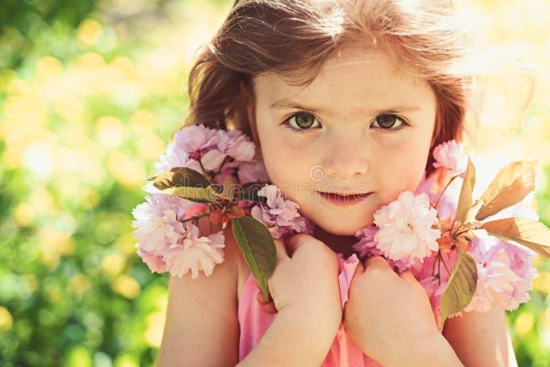 ? tempo di primavera Bambina in molla soleggiata fronte e skincare Allergia ai fiori Piccolo bambino Bellezza naturale fotografia stock libera da diritti