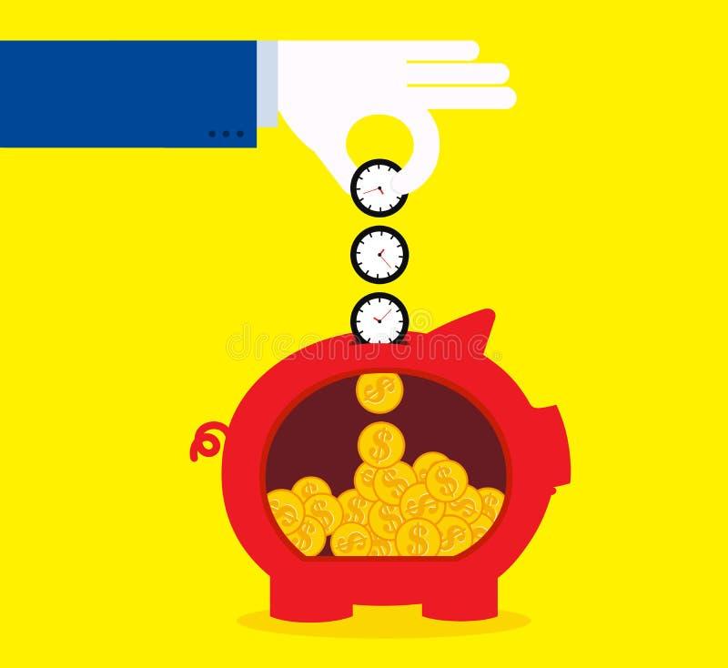 Tempo di risparmio, soldi di risparmio illustrazione di stock