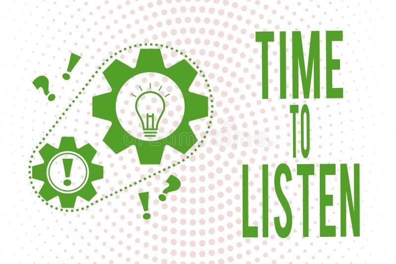 Tempo di scrittura del testo della scrittura di ascoltare Attenzione di elasticità di significato di concetto a qualcuno o a qual illustrazione di stock
