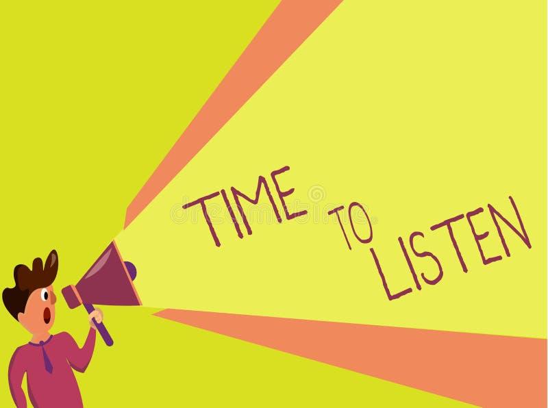 Tempo di scrittura del testo della scrittura di ascoltare Attenzione di elasticità di significato di concetto a qualcuno o a qual royalty illustrazione gratis