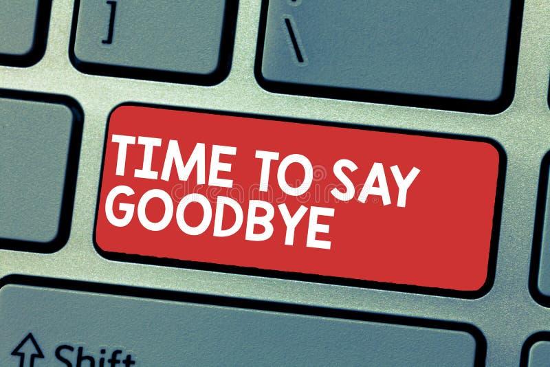 Tempo di scrittura del testo della scrittura di dire arrivederci Il significato di concetto che dà l'addio così lungamente vi ved immagine stock