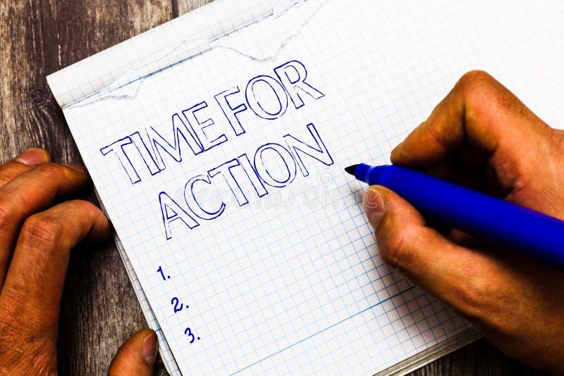 Tempo di scrittura del testo della scrittura per azione Significato di concetto che si prepara per iniziare a fare incoraggiament fotografia stock libera da diritti
