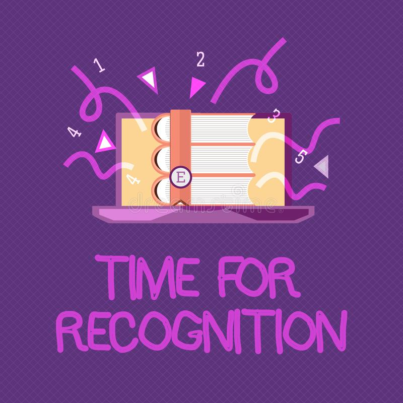 Tempo di scrittura del testo della scrittura per riconoscimento Intervallo di riconoscimento di significato di concetto fra lo st illustrazione vettoriale