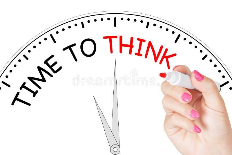 Tempo di scrittura della mano della donna di pensare messaggio con l'indicatore rosso su Tran illustrazione di stock
