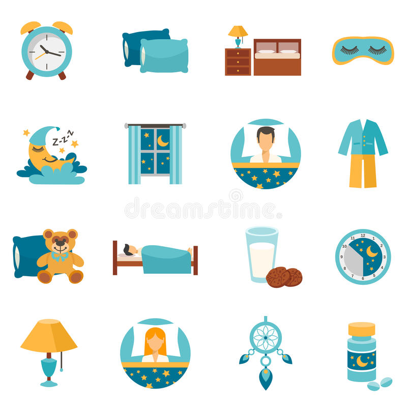 Tempo di sonno piano delle icone royalty illustrazione gratis