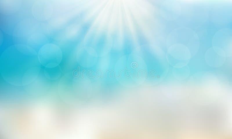Tempo di stagione estiva sulla spiaggia con il backg del cielo blu di giorno del sole illustrazione di stock