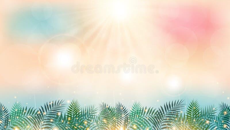 Tempo di stagione estiva sulla spiaggia con il giorno del sole e la palma verde royalty illustrazione gratis