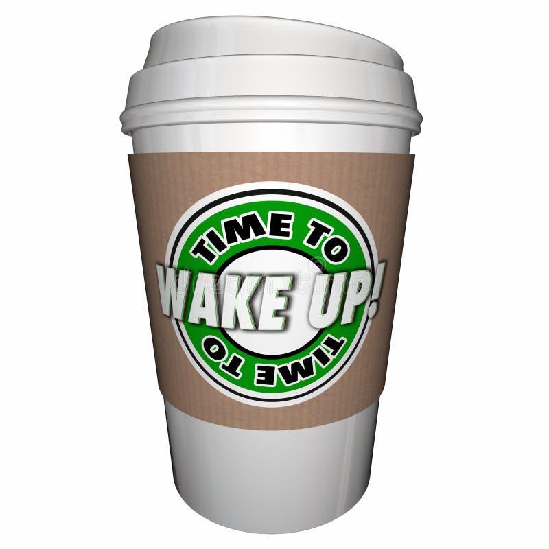 Tempo di svegliare la tazza di caffè di sonno illustrazione di stock