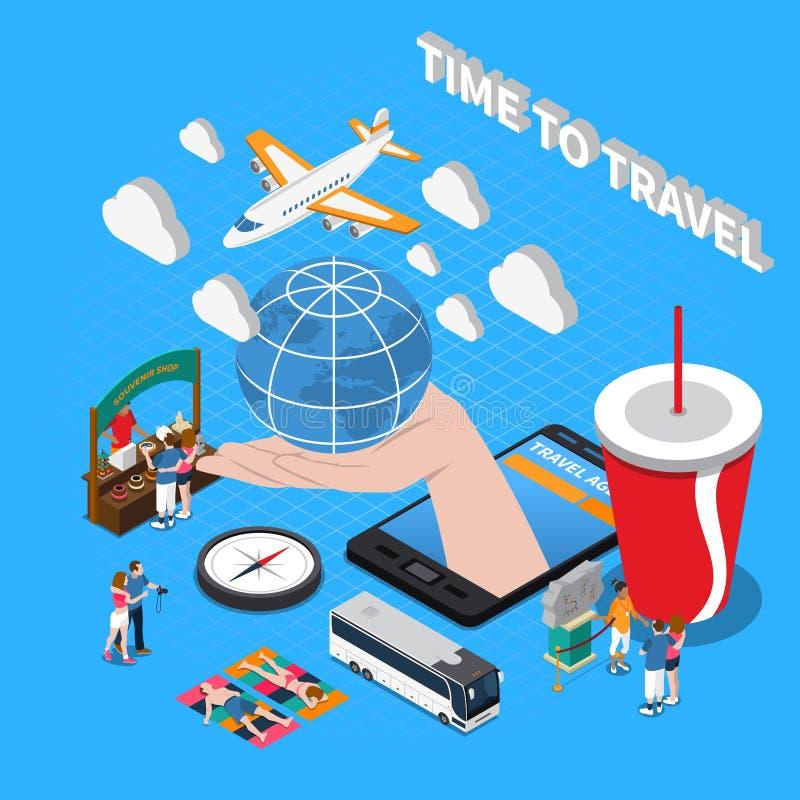 Tempo di viaggiare composizione isometrica illustrazione di stock