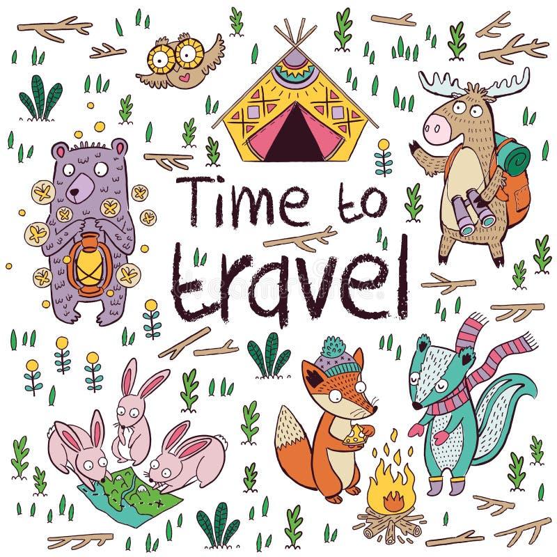 Tempo di viaggiare I bambini cardano nello stile del fumetto Illustrazione di vettore illustrazione di stock